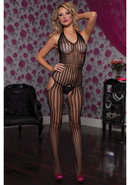 Halter Striped Bodystocking - Blk Os