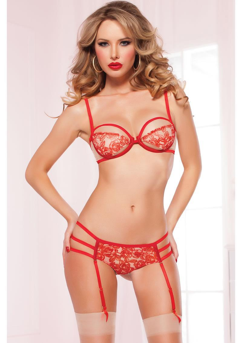 A La Rose Bra Set - Red - Os